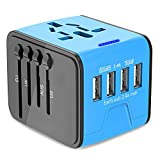 Universal Travel Adapter, International Power Adapter with 4 USB Ports, European Adapter Travel Power Adapter Wall Charger for UK, EU, US, AU, Asia