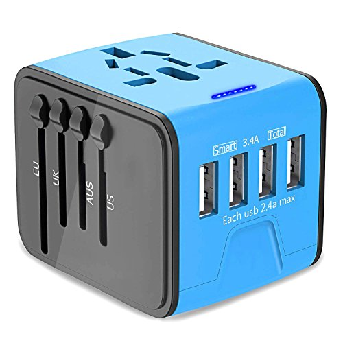 Universal Travel Adapter, International Power Adapter with 4 USB Ports, European Adapter Travel Power Adapter Wall Charger for UK, EU, US, AU, Asia by AirFrey