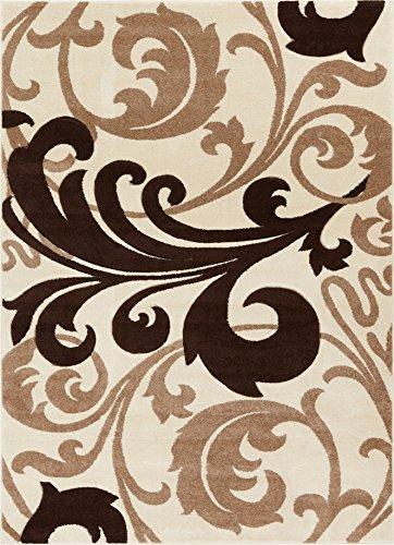 Melanie Floral Ivory & Beige Modern Geometric Comfy Casual Fleur-de-Lis Hand Carved Area Rug 8x10 8x11 ( 7'10