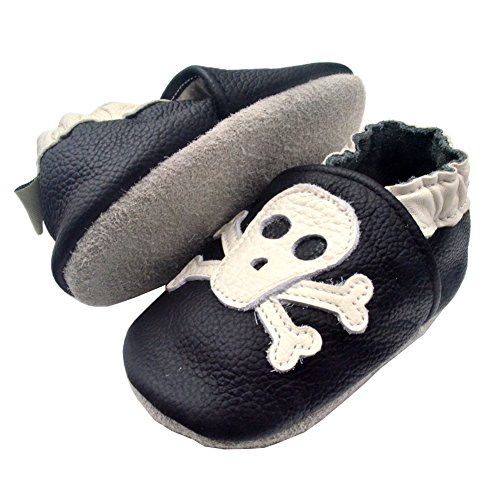 IEvolve Baby Shoes Baby Toddler Soft Sole Prewalker First Walker Crib Shoes Baby Moccasins (12-18 Months, Black Skull)