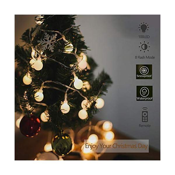 SPECOOL Catena Luminosa, Luci Natalizie da Esterno ed Interno con 100LED 8 modalità Flash Impermeabile,Bianco caldo Luci Stringa per Casa, Festa, Matrimonio, Giardino,Albero di Natale Decorazioni 3 spesavip