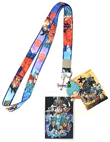 Dragon Ball Super: SSGSS Goku, Vegeta and Golden Frieza Group Lanyard With Badge ID Holder and PVC SSGSS Goku Charm