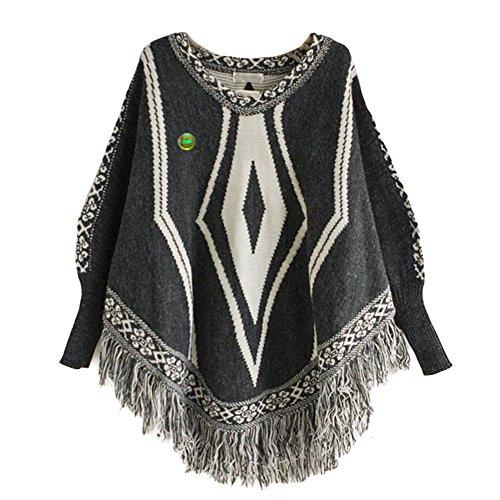 LOCOMO Tops (Luxury) - Poncho - para mujer FFJ062 Dark Gray Diamond