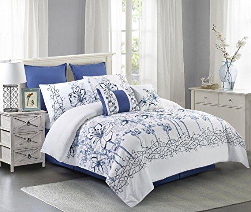 "Wonder-Home 8 Piece Embroidered Floral Cotton Comforter Set, Spring Garden Pattern Oversized Bedding Set, 2018 Trending Design, Euro Shams, Bedskirt, Dec Pillows, King, 106""x96"", Blue from Wonder-Home"
