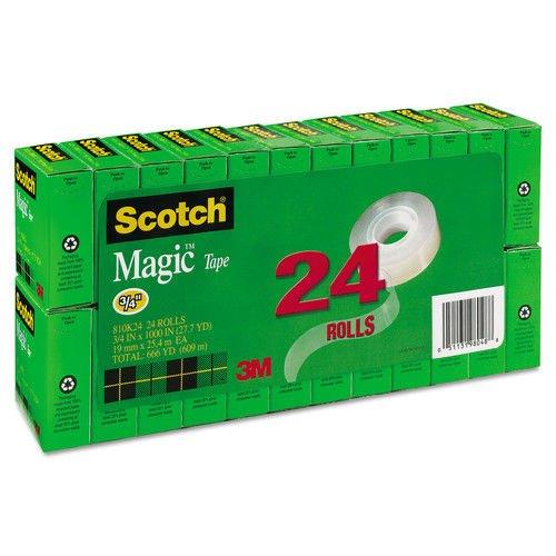 Scotch Magic Tape Value Pack, 3/4 inch x 1000 inch, 1 inch Core, Clear, 24/Pack (Magic Value Pack)