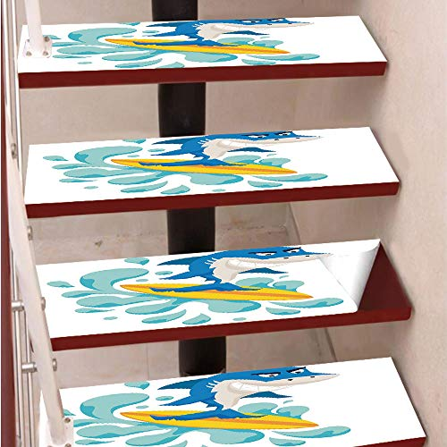 3D Print Non-Slip PVC Stair Pads,Self-Adhesive Steps Sticker,Staircase Treads Protector,Funny Shark Surfing in the Ocean Athletic Fish Graphic Art Decorative,for Home Decoration(9.8X39 inch) Set of 5P