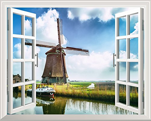 Removable Wall Sticker Wall Mural Windmill under Blue Sunny Sky out of the Open Window Wall Decor