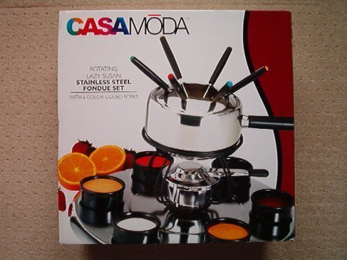 Casamoda Rotating Lazy Susan Stainless Steel Fondue Set with 6 Color-Coded Forks