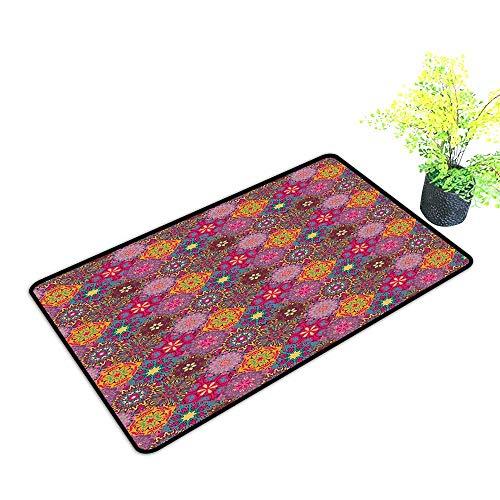 (Diycon Non-Slip Door mat Moroccan Vibrant Artistic Mandala Motifs in Squares Eastern Henna Folk Patchwork Style W31 xL47 All Season General Multicolor)