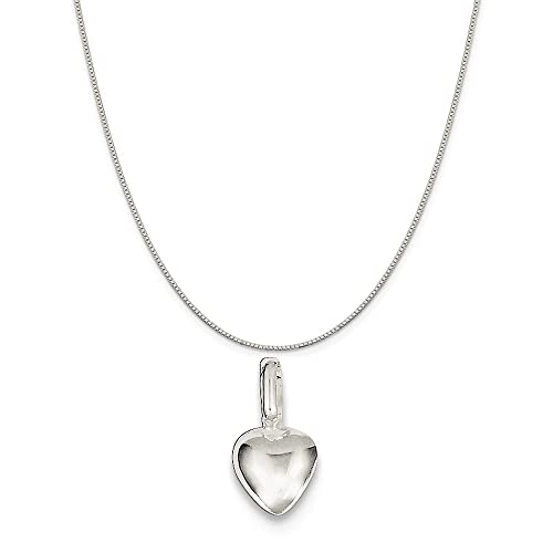 16-20 Mireval Sterling Silver Puffed Heart Charm on a Sterling Silver Chain Necklace