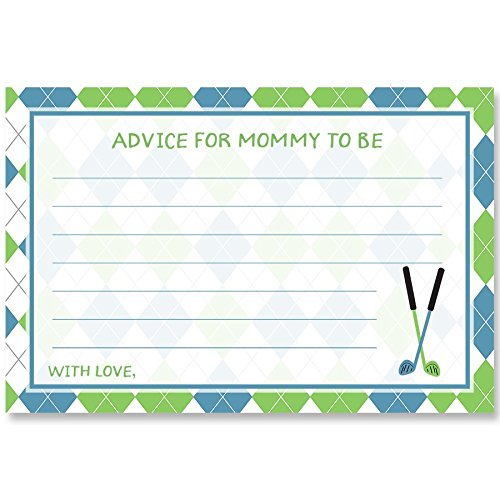 (Little Putter, Baby Shower, Advice For Mommy To Be, Advice Cards, Sports, Sports Shower, Golf Baby Shower, White, Blue, Green, Argyle, Golf Baby, Crossed Clubs, Sports Baby, 24 Pack Printed Cards)
