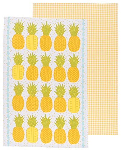 Now Designs Tea Towels, Pineapples, Set of 2 (Pretty Towels)