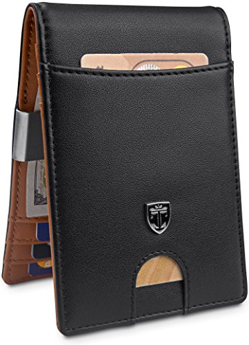 "TRAVANDO Money Clip Wallet""RIO"" – Mens Wallets slim Front Pocket RFID Blocking Card Holder Minimalist Mini Bifold Gift Box"
