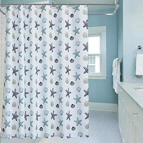 oremila Bathroom Shower Curtain Seashell Starfish Multi-colored Shower Curtains Fabric Bathroom Curtain Durable Water Repellent Bath Curtain 1pc (72