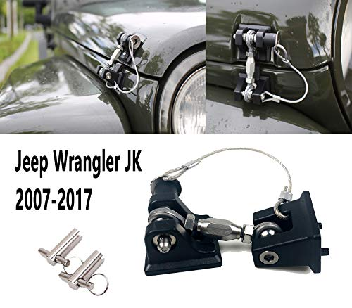 (Sukemichi Jeep JK Hood Latches Pins and Hood Catch Lock Kit for Wrangler JK 2007-2017 with Key, 1 Pair )