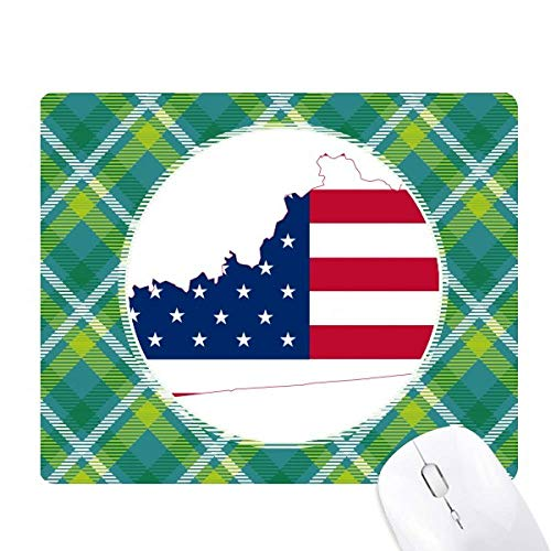 Kentucky USA Map Stars Stripes Flag Shape Green Lattices Grid Pixel Mouse Pad