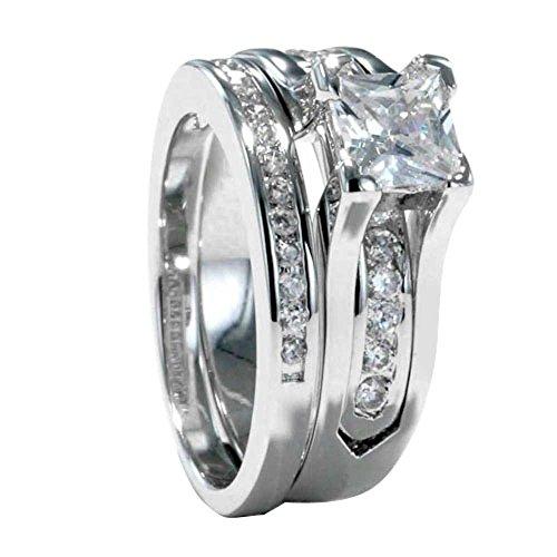 Cubic Zirconia Rhodium Brass Ring - Princess Cut Cubic Zirconia Rhodium-Plated-Brass Women's Wedding Engagement Ring Set size 7 SPJ