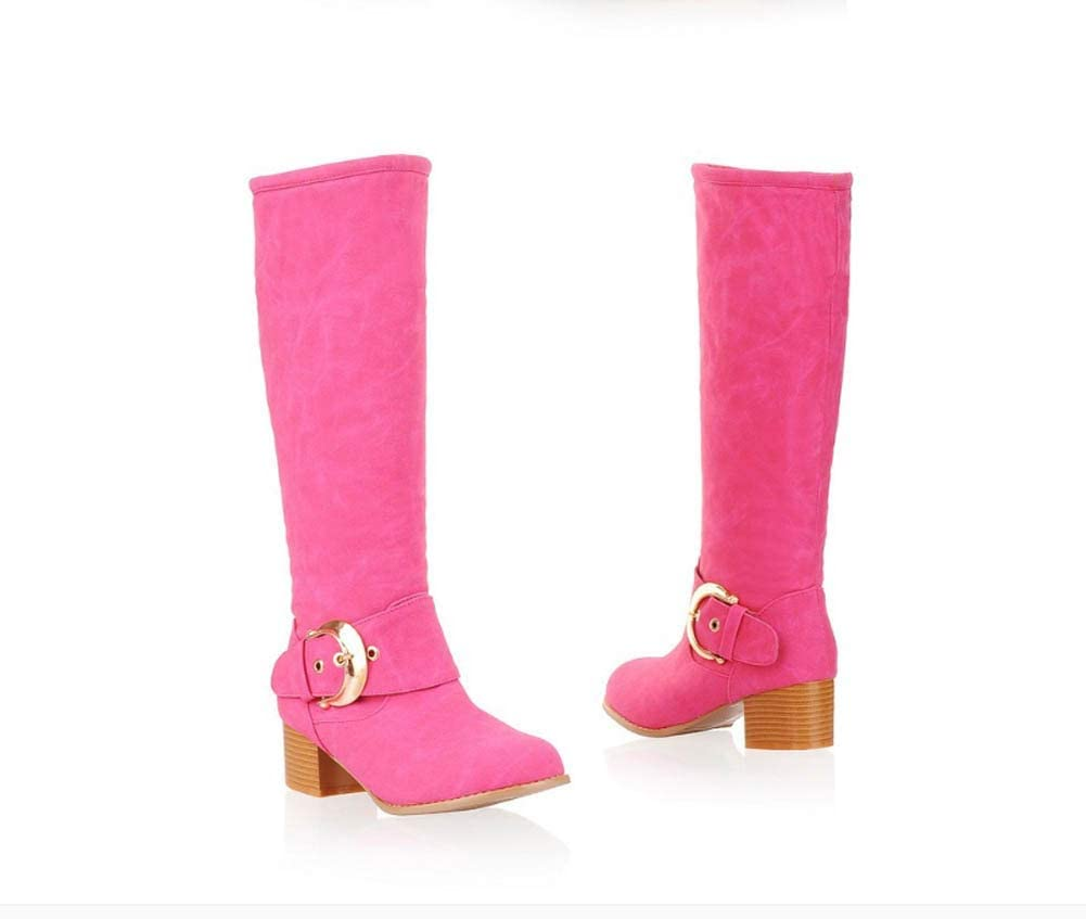 5Cm Chunkly Heel Knee High Boot Dress Boot Women Round Toe Belt Buckle Knight Boot Eu Size 31-43 Red