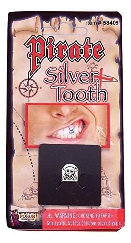 Pirate Tooth Cap with Skull - Silver - Pirate Tooth Cap With Skull