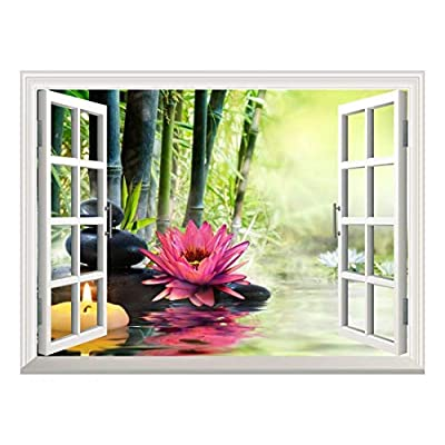 Removable Wall Sticker/Wall Mural - Massage in Nature - Lily, Stones, Bamboo - Zen Concept   Creative Window View Home Decor/Wall Decor - 36