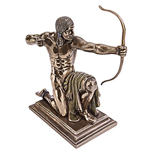 Design Toscano Kneeling Indian with Drawn Bow Statue, Bronze
