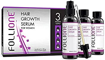 Follione Hair Growth Serum for Women - three month supply. Dermatologically Tested Hair Loss Treatment for Women for Easy Hair Growth.