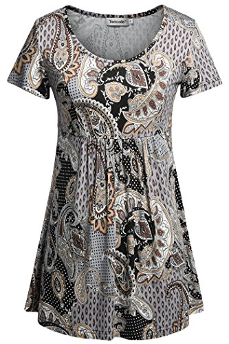 (Tencole Fit and Flare Tunic, Summer Short Sleeve Shirts Printed Top Brown XL)