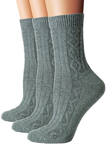 Green Wool Knit - Flora&Fred Women's Cable Knit Wool Crew Socks, Size 9-11 / Shoe Size 5-8, Army Green, 3 Pairs Pack