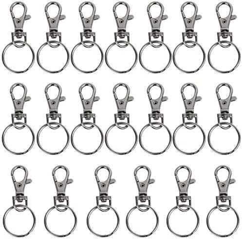 TRIXES 20 X kleine Karabiner abnehmbare schwenkbare Key Split-Ring-graue Farbe