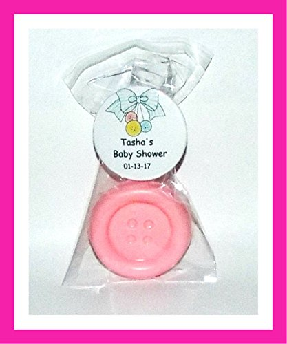 Button Favors Cute As A Button Favors Soap With Personalized Button/Pin Favors - Individually Wrapped Baby Shower Soap Party Favors - Set of 24 (Blue)
