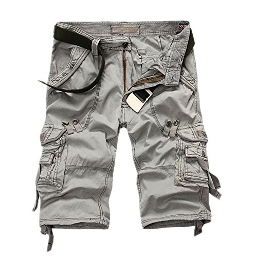 Hzcx Fashion Mens washed cotton long capris multi-pockets casual cargo shorts - Mens Cotton Washed
