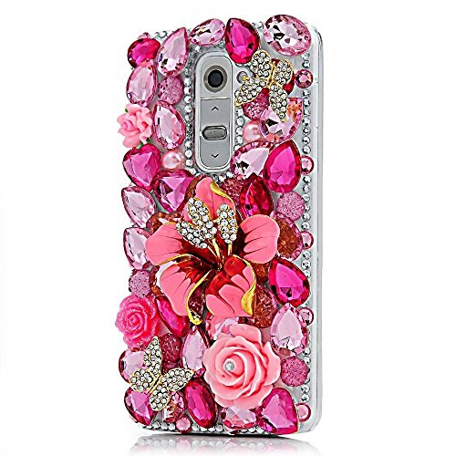 Spritech(TM) LG V10/LG G4 Pro/G4 Note Shining Case,3D Handmade Rose Bling Crystal Pink Flower Design Hard Clear Phone Cover for LG V10/LG G4 Pro/G4 No…