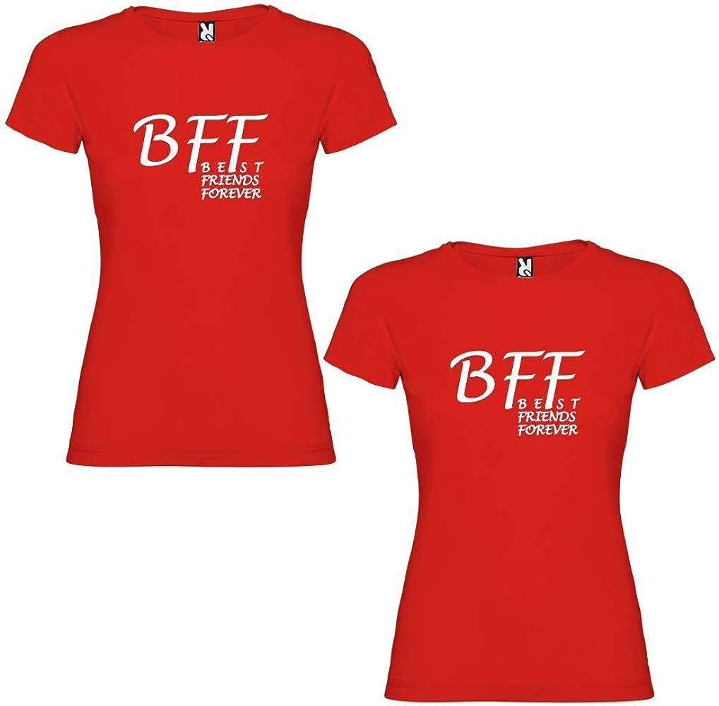Pack de 2 Camisetas Rojas de Mujer BFF Best Friends Forever Blanco (Mujer Tamaño L + Mujer Tamaño S): Amazon.es: Ropa y accesorios