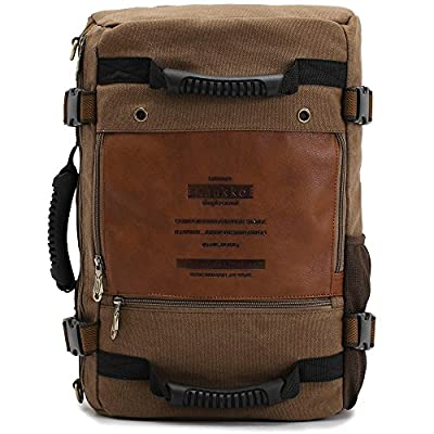DAOTS Canvas Causal Backpack Vintage Rucksack Daypack for Men Travel Climbing Camping Hiking (1-Year Warranty-Brown)