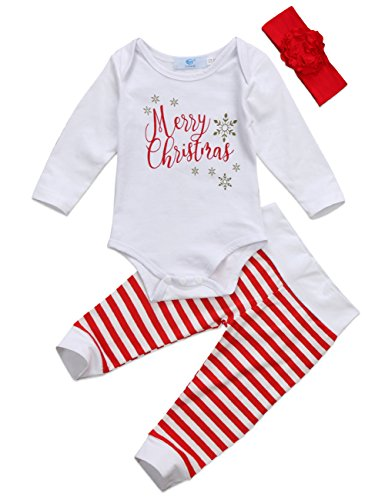 Canis Newborn Baby Girls Long Sleeve Merry Christmas Bodysuit and Striped Pants Christmas Outfit Set with Headband (70(3-6M), White)