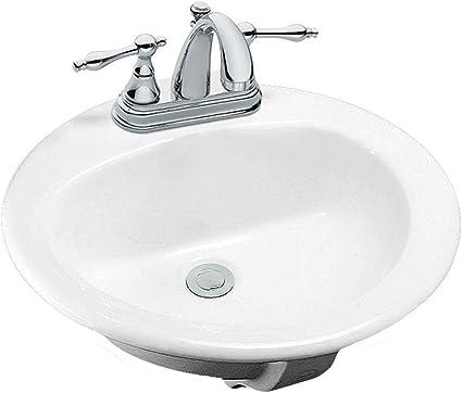 Aragon Drop in Bathroom Sink in White