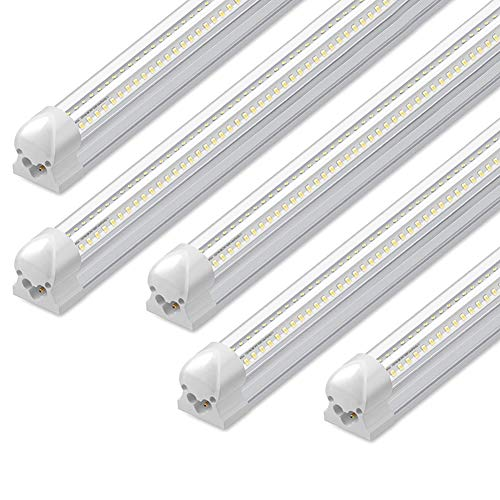 8Ft LED Shop Light, 72W, 7500LM, 6500K, T8 V-Shape Integrated Tube Light Fixture, Hight Output, Brighter White, LED Tube Light for Garage, Warehouse, Plug and Play (Pack of 5)