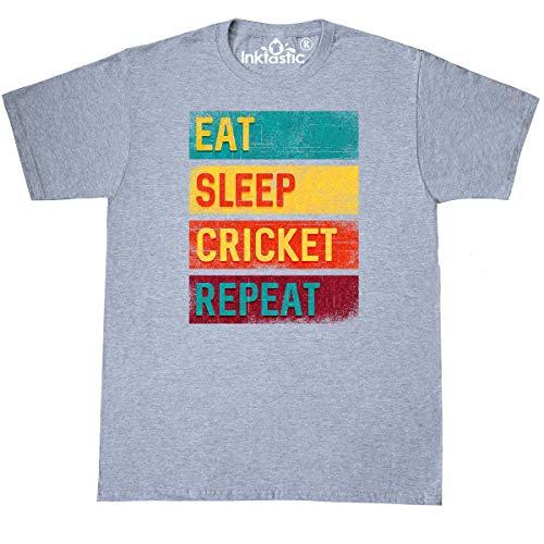 inktastic Cricket Sports Eat Sleep Cricket T-Shirt X-Large Athletic Heather (Apparel Wireless Cricket)