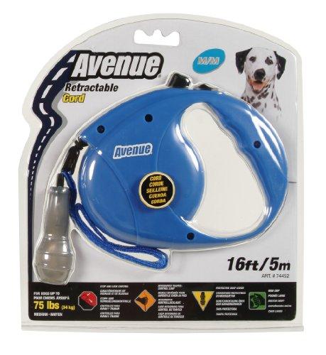 Avenue Retractable Cord Leash for Dogs, Blue, Medium/16 (Avenue Leash)