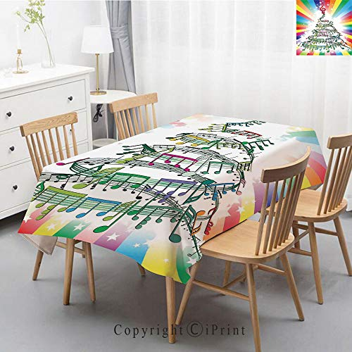 Wedding Party,Allover Print Christmas Fabric Tablecloth,Holly Berry Xmas Print Cloth Tablecloth,55x79 Inch,Jazz Music Decor,Colorful Music Notes as Christmas Tree with Rainbow Background New Year Part ()