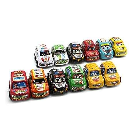12Pcs Baby Kids Educational Mini Super Running Vehicle Toy Inertia Racing Cars (Dodge Night Runner)