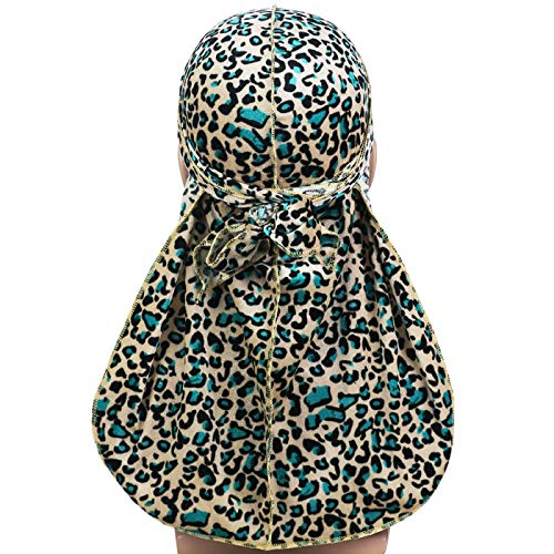 Fashionable Soft Leopard Print Durag Headwraps with Extra Long Tail and Wide Straps for 360 Waves Green
