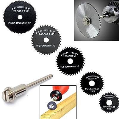 OriGlam 6Pcs HSS Saw Blades Circular Saw Blade, Cutting Discs Mandrel Rotary Tool For Dremel Metal Cutter Power Tool Kit Wood Cutting Discs Drill Mandrel