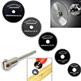 【Best Deals for Christmas】OriGlam 6Pcs HSS Saw Blades Circular Saw Blade, Cutting Discs Mandrel Rotary Tool For Dremel Metal Cutter Power Tool Kit Wood Cutting Discs Drill Mandrel