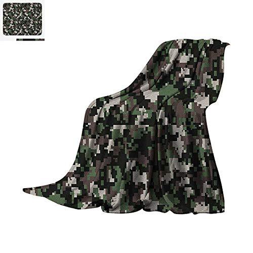Luoiaax Camo Lightweight Blanket Pixelated Pattern Digital Effect Modern Conceptual Camouflage Texture Velvet Plush Throw Blanket 50