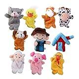 10pcs Old MacDonald Farm Animals Finger Puppets Kids Favor Toys