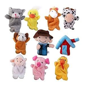 Amazon.com: Old MacDonald Farm Animal Finger Puppets Plush
