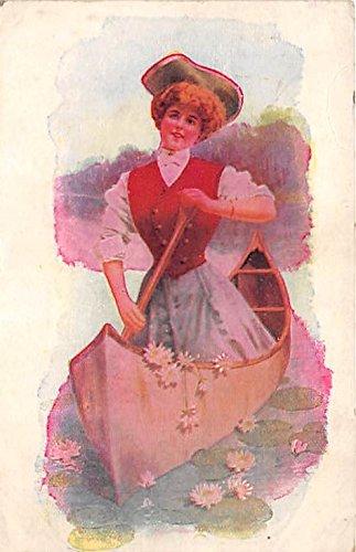 Rowing Girl Old Vintage Rowing Postcard Post Card