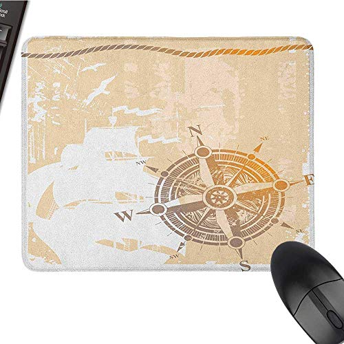 Black Cloth Mousepad Compass,Nautical Themed Compass Marine Life Inspired Windrose Ship Rope Background, Sand Brown Marigold Black Cloth Mousepad 15.7 x23.6 -
