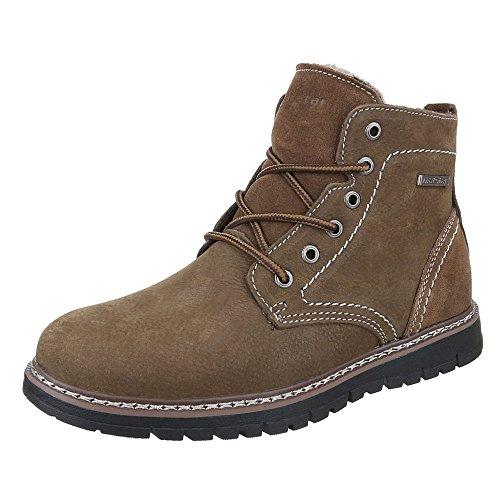 Ital-Design Stiefeletten Herren Leder Schuhe Desert Boots Warm Gefütterte Schnürsenkel  Boots Braun 283edd66a5